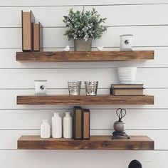 Reclaimed wood floating shelves   Shelves are an important component of your house. If not to create storage for keeping items it w...