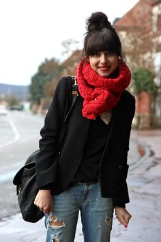 Boyfriend jeans, black blazer, chunky scarf, blunt bangs