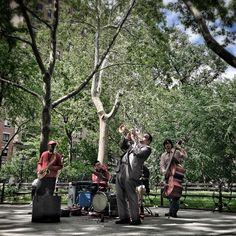 Banda de jazz no Washington Square Park, maio de 2013