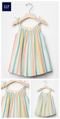 Pastel stripe bow dress