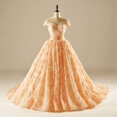 Find More Wedding Dresses Information about Dubai Luxury Orange Ball Gown Lace Floral Wedding Dresses 2015 with Pearls Off Shoulder Puffy Bridal Gowns vestido de noiva HW2,High Quality dresses 50s,China dress necklines Suppliers, Cheap dresses office from LaceBridal on Aliexpress.com