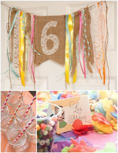 something like this above the entry table i like the ribbon idea (Luau Party Signs) Luau Birthday, 1st Birthday Parties, Girl Birthday, Birthday Ideas, Birthday Bunting, Party Bunting, Party Garland, Kid Parties, Summer Parties