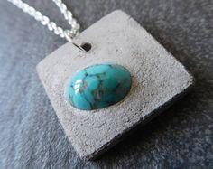 Turquoise necklace  concrete  square necklace  cement