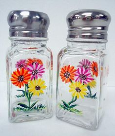 Gerber Daisy Salt and Pepper Shakers - hand painted art on glass ...