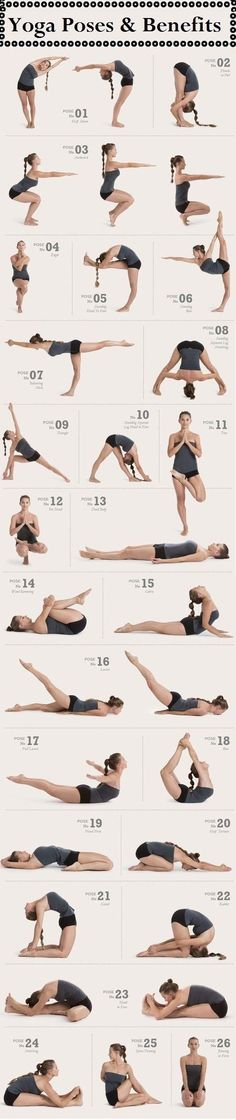 Yoga poses to work every part of the body. I do all these poses in Hot Yoga! I love Hot Yoga :) Fitness Workouts, Yoga Fitness, Sport Fitness, Fitness Tips, Fitness Motivation, Health Fitness, Health Yoga, Fitness Weightloss, Fitness Goals