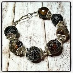 Chunky black bracelet - agate silver bracelet - black statement bracelet - Handmade jewelry Salakaappi by Salakaappi on Etsy
