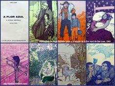 colagem com as 7 ilustrações de Jorge Pinheiro para os 7 contos do livro A flor azul e outras histórias / Ilse Losa ; il. de Jorge Pinheiro.  3a ed.  Porto : Liv. Figueirinhas, 1969.