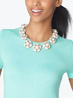 belle fleur collar statement necklace, neutral/mint