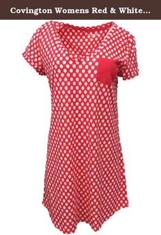 Covington Womens Red & White Dot Sleepshirt Nightgown Sleep Shirt M. This cozy red sleep shirt has white dot print, v-neckline, and a solid red pocket on left chest. Women's & Plus Sizes Short Sleeves Falls slightly above the knee 60% Cotton, 40% Polyester Machine Washable .