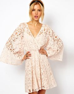 Asos Lace Dress with Kimono Sleeve - Lyst