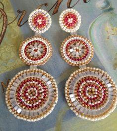 Triple Disc Post Seed Bead Earrings by WorkofHeart on Etsy