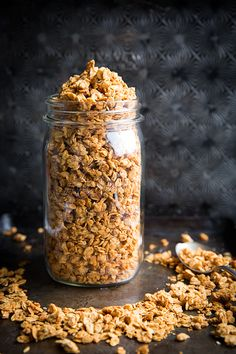 This Homemade Peanut Butter Granola uses just 4 ingredients and is ready in under 30 minutes. It's super crunchy and packed with peanut butter flavor. Enjoy atop yogurt, smoothie bowls, and more! Peanut Butter Granola, Homemade Peanut Butter, Easy Granola Recipe, Snack Recipes, Cooking Recipes, Egg Recipes, Granola Bars, 4 Ingredients, Healthy Snacks