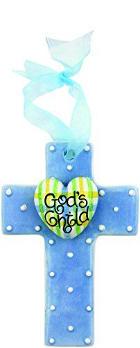 Gods Child  Blue Gingham 5 Cross Ornament Baby Boy *** Learn more by visiting the image link.