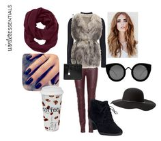 """Maroon and Black Winter Essentials"" by zoey-boo on Polyvore featuring J Brand, Topshop, PINGHE, Lottie, Clarks, Athleta, Quay, Charlotte Russe, Yves Saint Laurent and Könitz"