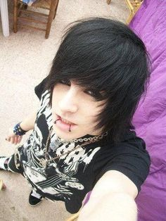 """black hair, dark eye make-up, black snake bites.  Emo boy look for the Anime Emo Punk Tech Movement of 2054 in book series, """"The Biodome Chronicles""""  by Jesikah Sundin (see board for """"Legacy"""", """"Elements"""" and """"Gamemaster"""")"""