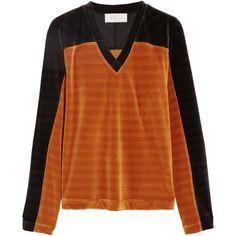 KÉJI Two-tone cotton-blend velvet sweatshirt (420 AUD) ❤ liked on Polyvore featuring tops, hoodies, sweatshirts, orange, velvet top, loose fitting tops, velvet sweatshirt, cut loose tops and two tone sweatshirt