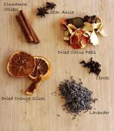 Fall Simmer Pot Mix - can be reused day after day by just adding more water! It's a good idea to buy a inexpensive or a pretty second hand pot specifically for scent simmers! Homemade Potpourri, Simmering Potpourri, Potpourri Recipes, Homemade Gifts, Stove Top Potpourri, Dried Orange Slices, Dried Oranges, House Smell Good, House Smells