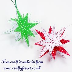 Free Christmas paper craft project 3D printable star decorations