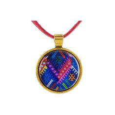 NOVICA Guatemala Handcrafted Necklace with Maya Weaving Theme ($38) ❤ liked on Polyvore featuring jewelry, necklaces, brass, pendant, rose pendant, rose necklace, pendant charms, blue necklace and blue pendant