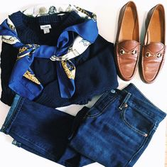 Levi's, Gucci Loafers, LL Bean Sweater, Hermes Silk Scarf