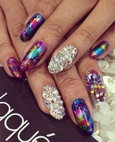 Full color nails. Beautiful. Bling.