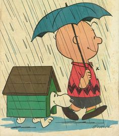 illustration of Charlie Brown and his dog Snoopy in the rain Snoopy Love, Charlie Brown Y Snoopy, Snoopy And Woodstock, Caricatures, Bd Comics, Singing In The Rain, Peanuts Snoopy, Peanuts Cartoon, Illustrations