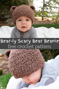 It's time to start thinking about those little ears. This adorable free crochet pattern for the Bear-ly Scary Beanie comes in all sizes! hat kids ears Bear-ly Scary: A Bear Beanie Free Crochet Pattern Beanie Pattern Free, Crochet Baby Hat Patterns, Crochet Baby Beanie, Crochet Beanie Pattern, Crochet Baby Clothes, Booties Crochet, Crochet Baby Stuff, Dress Patterns, Knitted Baby Beanies