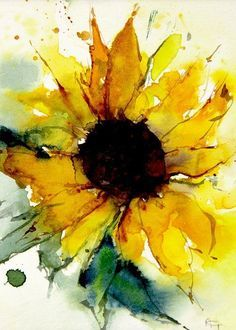 Oil painting Flowers art lil peep canvas art ink and watercolor flowers ivory black paint flowers in watercolor paintings Watercolor Sunflower, Sunflower Art, Watercolor Flowers, Watercolor Cards, Abstract Watercolor, Watercolor Paintings, Watercolor Artists, How To Paint Watercolor, Watercolors