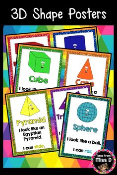 Teach your students about 3D Shapes with these 7 cute and colourful posters. The 3D Shape Posters can also be scaled down to use as flash cards! 3D Shape Posters included; Rectangular Prism, Cylinder, Cube, Cone, Pyramid, Triangular Prism & Sphere © Tales From Miss D