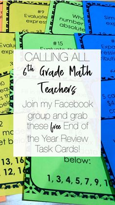 Grade Math- To the Square Inch has members. This group is for grade math teachers to collaborate, bounce ideas off each other and lift each. Order Of Operations, 7th Grade Math, Elementary Math, Math Teacher, 5th Grades, Task Cards, Algebra, Math Activities, Middle School