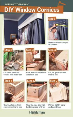 DIY Tutorial: How to Build Window Cornices. Build your own custom cornices for 1/4 the price of store-bought.