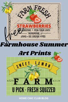 Free Farmhouse Summer Printables Free Planner, Printable Planner, Free Printables, Lemon Farm, Refreshing Summer Drinks, Free Calendar, Free Art Prints, Summer Prints, Love Is Free