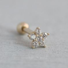 Authentic 18K Yellow Gold Charm Nose Ring Butterfly Design n10