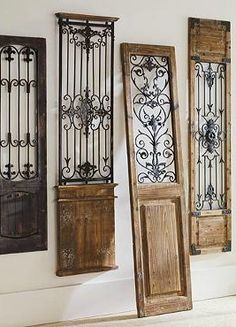 Vintage Gate Artwork: Our Vintage Gates artwork is crafted from generously distressed wood and metal. The rustic wooden frames and inset finials resemble found artifacts that are sure to complement most any decor. Design Toscano, Door Design, House Design, Design Design, House Main Gates Design, Gate Design, Interior Design, Wrought Iron Decor, Rod Iron Decor
