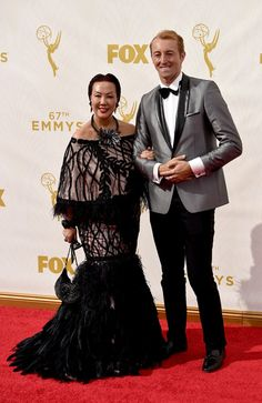 Fashion designer Sue Wong (L) and TV presenter Prince Mario-Max Schaumburg-Lippe attend the 67th Annual Primetime Emmy Awards at Microsoft Theater on September 20, 2015 in Los Angeles, California.