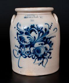 J. NORTON & CO. / BENNINGTON, VT Stoneware Jar w/ Elaborate Slip-Trailed Floral Decoration
