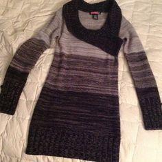 Dark ombré sweater dress Black to grey long sleeve dress size S Dresses