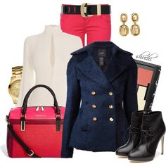 """Navy Notched Lapel Peacoat"" by shuchiu on Polyvore"