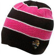 Reebok Jacksonville Jaguars Ladies Pink-Black Breast Cancer Awareness Striped Knit Beanie