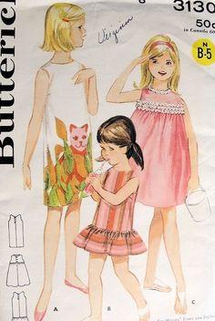 VINTAGE BUTTERICK 3130 GIRLS Dress Pattern  3 Styles Beachdress Panel Prints,Flounce Shift, Lace Trim Yoke Gathered Skirt