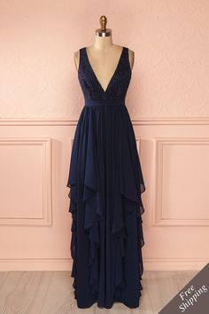 Azaela - Navy blue lace bust layered veil gown