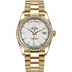 Rolex Day-Date 36mm Yellow Gold Diamond Bezel 118348 White Index... ($37,146) ❤ liked on Polyvore featuring jewelry, watches, accessories, yellow gold jewelry, gold watches, gold wristwatches, white crown and gold jewellery