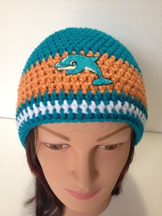Miami Dolphins Hat Dolphins NFL Hat Crochet by BiziKnitting4You