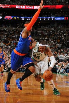 Last Game as a Celtic: #34 drives to the basket against the defense of Carmelo Anthony. (May 3, 2013 | Eastern Conference Quarterfinals | Game 6 | New York Knicks @ Boston Celtics | TD Garden in Boston, Massachusetts)