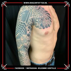 Japanese Black and grey Koi sleeve with chest panel. Designed and Tattooed by: Sjonnie Gentille Dragon Tattoo. Dad Tattoos, Religious Images, Top Artists, Koi, Black And Grey, Dragon, Japanese, Sleeves, Style