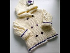 Knitting baby jacket جاكيت اطفال تريكو - YouTube