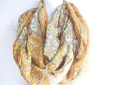 Bohemian Indian Paisley Scarf Mustard Indie by myfashioncreations, $28.00