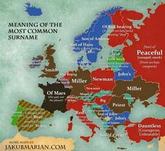 An infographic map made by Czech linguist, mathematician, and artist Jakub Marian has described the most popular surnames in Europe. For example, the most popular surname in the United Kingdom is Smith, deriving from the metalworking practice, compared to Müller in Germany, which means 'miller'. He has produced two maps.