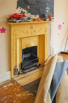Cast Iron Fireplace Bedroom, Paint Fireplace, Fireplace Cover, Yellow Painting, Painting On Wood, Wood Fireplace Surrounds, Fireplace Pictures, Edwardian House, Before And After Pictures