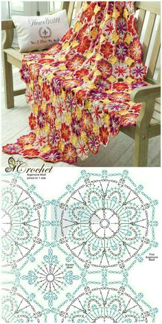 crochet blanket motif ♡ thanks for sharing ♡ #crochet #diagram #grafico #manta